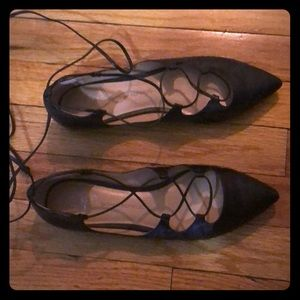 Banana Republic black leather lace-up flats (8.5)